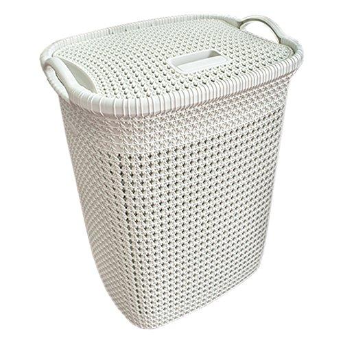 Wäschekorb 65 Liter in Spitzeneffekt Wäschetruhe Sammler mit Deckel Korb Camasir Sepeti Knit Design