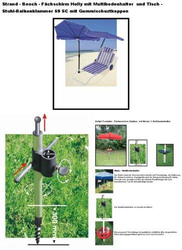 STABIELO Hollysun  Beachway-Fächer-Sonnenschirm - blau - mit ALUMINIUM Multibodenhalter +...