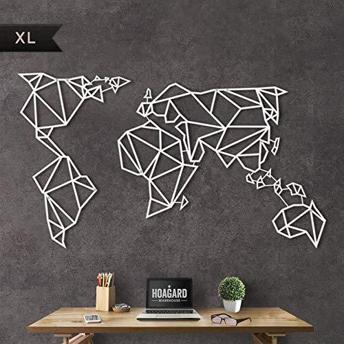 Hoagard Metal World Map White - Hoagard Metal Mapa Del Mundo Blanco | 80 x 140 | Arte Geométrico De Pared De Metal Y Decoración De Pared | Regalo de Navidad