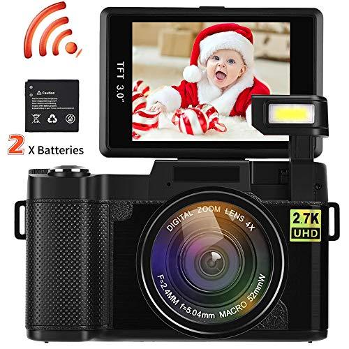 Videokamera Camcorder, DIWUER WiFi Drahtloser Digitalkamera Recorder, 24.0MP Full HD 1080P Flip Screen Vlogging Kamera mit Taschenlampe (Zwei Batterien enthalten)