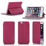 Ultra Slim Tasche Leder Style iPhone 6 4.7 Hülle Rosa Cover mit Stand - Zubehör Etui smartphone 2014 Apple iPhone 6 4,7 Flip Case Schutzhülle (Handy tasche folio PU Leder, Rosa pink) - Brand XEPTIO accessoires
