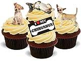 Chihuahua Hund Mischung - 12 essbare Standup Kuchen-Deko, Kuchendekorationen, essbar, Premium, 2 x A5, für 12 Bilder, nicht vorgeschnitten