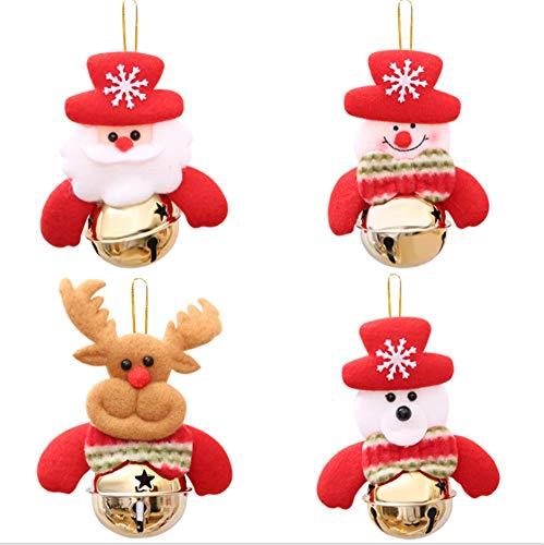 SanXingRui Weihnachtsbaum Anhänger,Weihnachtsbaum Ornamente, Elch Puppe Bär Anhänger Gold Glocke Rot Weihnachtsmann Schneemann (4PCS Rot-D)