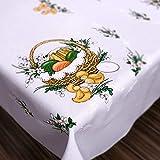 Ostern Tischdecke Happy Huhn und Ei, Polyester, weiß, 43
