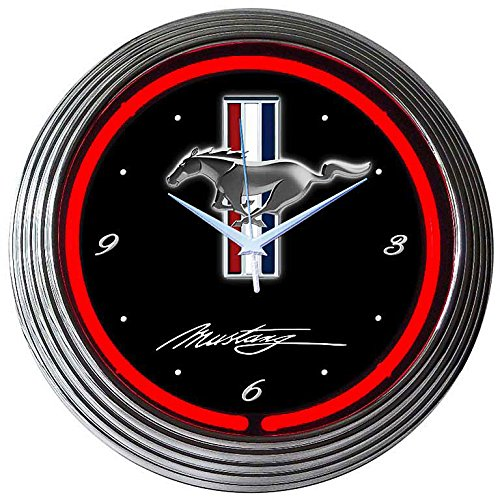 NEONUHR NEON CLOCK - FORD MUSTANG RACING STRIPES WANDUHR BELEUCHTET MI ROTEN NEON RING-