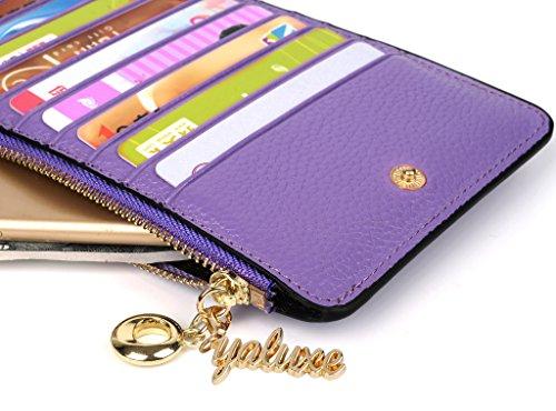 Yaluxe Porta Carte di Credito e Identità con Vera Pelle, Portafoglio con ultra-Sottile,Grande Capacità e MultiUso per mettere monete,cellulare, contanti