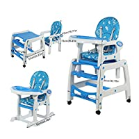 Multi Function Baby High Chair, 3 in 1 Adjustable Height Baby Toddler Highchair Baby Play Table and Chair Baby Feeding Chair Rolling Wheel Table