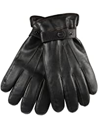 ELMA Men's Nappa Leather Super Warm Long Fleece Lining+ Thinsulate Quilted Gloves