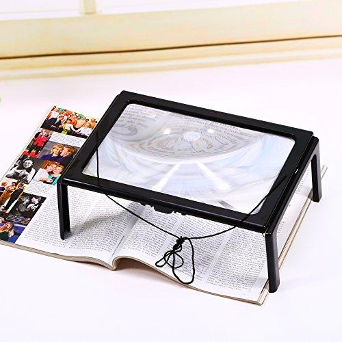 3x Hände Frei Lupe zum Lesen A4 Lesevergrößerungsglas Lese-Lupe mit Standfuß und Beleuchtung