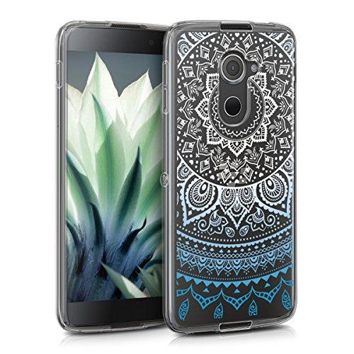 kwmobile BlackBerry DTEK60 Hülle - Handyhülle für BlackBerry DTEK60 - Handy Case in Blau Weiß Transparent