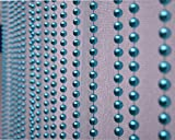 Pindia 7Ft Strings Bead Curtain Pearl Aqua Fancy Sparkling Door Window String Beads Thread Sheer Shear Rod Room Hanging - AQUA - 7 X 3.5 FT