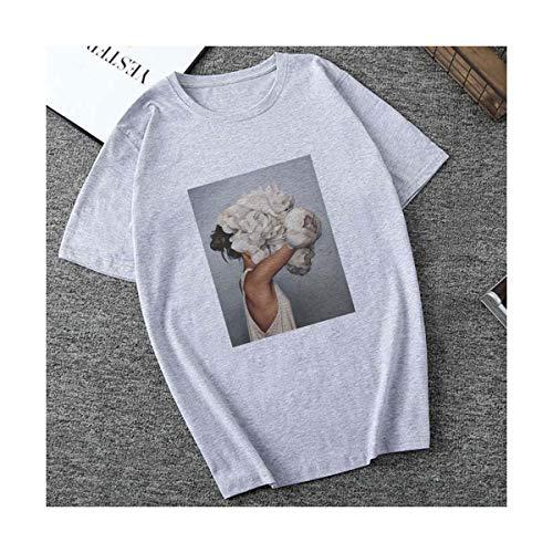 Summer Short Sleeve Women T-Shirts Sexy Flowers Feather Print Funny T Shirts Women Harajuku Vintage Vogue Tee Shirt Femme Tumblr 1872-gray XL Jersey Short Sleeve Bodysuit
