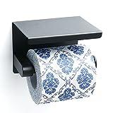 Porte papier hygiénique Sayayo avec tablette, acier inoxydable noir mat, EGG5200-B