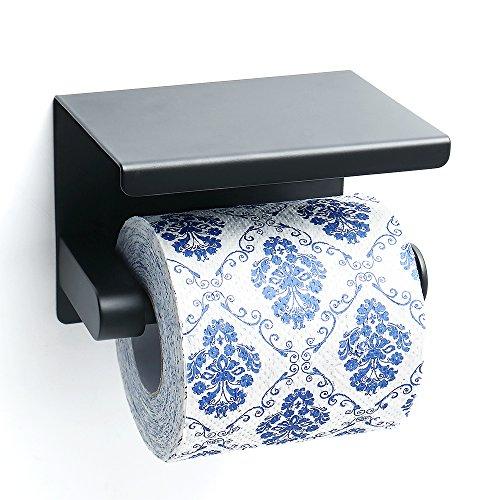 Sayayo Toilettenpapierrollenhalter mit Regal, Edelstahl Mattschwarz, EGG5200-B -