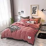 Huichao Baumwoll-Quilt Decken Vier Sätze von Herbst-und Winterwarm Kristall Samt Betten einfache solide Farbkontrastfarbe Mosaik nordischen Stil,Red