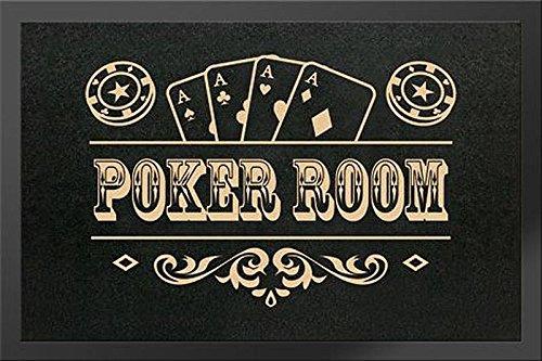 Poker Room Fußmatte - mit rutschfester Gummi-Rückseite (40x 60cm) (Glücksspiel-zubehör)