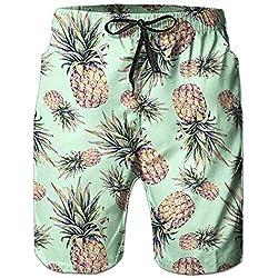 AIDEAONE Hombres Piña Pantalones Cortos de Playa Traje de Baño