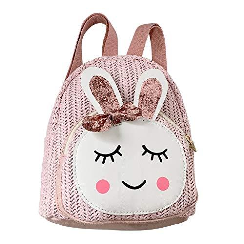 MäDchen Rucksack,TTLOVE Stroh Schulter Handtasche Kinder Mode Kaninchen Casual Bags Cartoon UmhäNgetasche Schultasche (Rosa,19x6x10 cm)