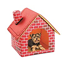 LiféUP Dog House, Removable Washable Red Brick Pet House Dog Bed with Chimney House Kennel Cattery Tent Nest for fourseasonsuniversal