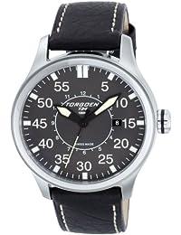 TORGOEN Swiss  T34102 - Reloj de cuarzo para hombre, con correa de cuero, color negro