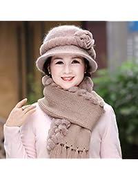 1c957d072 LIUXINDA-MZ Sombrero de Piel de Mediana Edad para Mujer, otoño e Invierno,