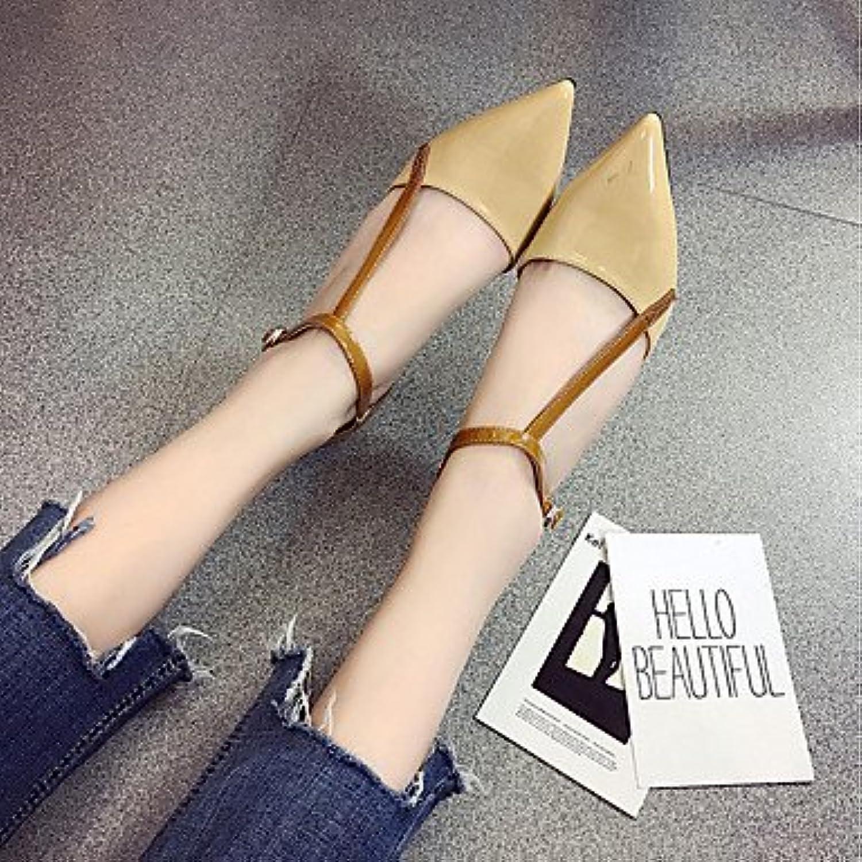 RTRY Zapatillas De Mujer &Amp; Flip-Flops Verano Confort Casual Pu Chunky Heelblack Caminar Blanco Caqui Us7.5...