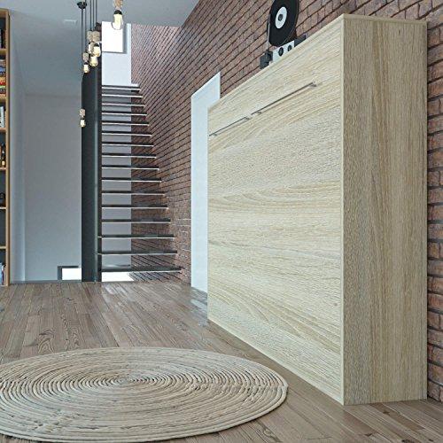 Schrankbett 140×200 cm Horizontal Eiche Sonoma, ideal als Gästebett – Wandbett, Schrank mit integriertem Klappbett, SMARTBett - 2