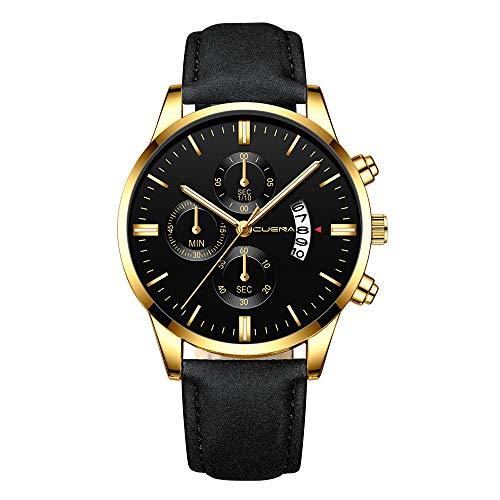 Obestseller Armbanduhren für Herren Quarzuhr Männer Armbanduhr Damen Uhr Herren Herrenmode Sport Edelstahlgehäuse Lederband Quarz Analog Armbanduhr