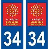 Autocollant plaque immatriculation pour Auto Languedoc roussillon département - Languedoc Roussillon / 34 Hérault