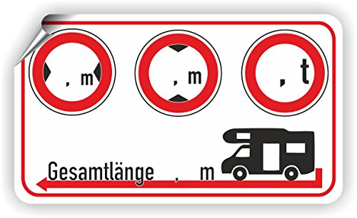Wohnmobil / Breite / Höhe / Gewicht / Länge / Piktogramm
