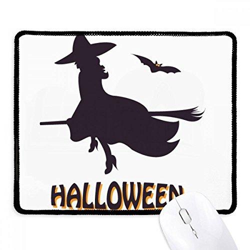 Fuwuxin Home Hexen reiten Besenstöcke Fledermaus Halloween rutschfestes Mousepad Spiel Office Schwarz genäht Kanten Geschenk