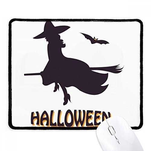 Fuwuxin Home Hexen reiten Besenstöcke Fledermaus Halloween rutschfestes Mousepad Spiel Office Schwarz genäht Kanten Geschenk (Halloween-spiele Für Office)