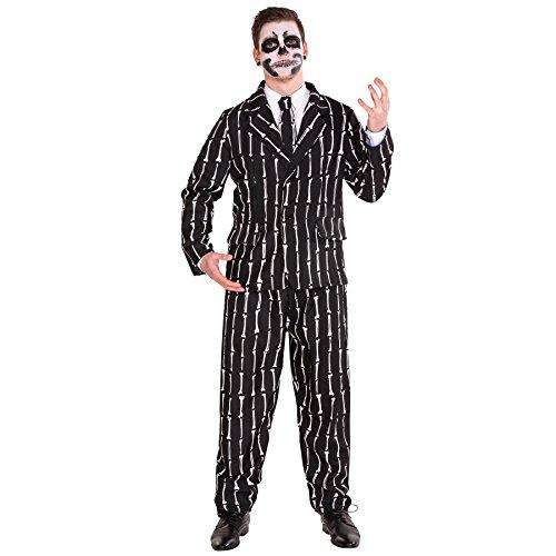 Herrenkostüm Herren Anzug mit Knochenoptik inkl. Hose, Jackett und Krawatte (XL | Nr. 300045)