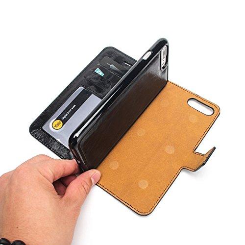 EKINHUI Case Cover Verrückte Pferd Textur Abnehmbare Design PU Leder Geldbörse Tasche Tasche mit Kartensteckplätzen für iPhone 7 Plus ( Color : White ) Green