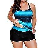 Fuibo Bikini, Frauen plus Größe Gradient Tankini Bikini Bademode Badeanzug Bade Anzug | Badeanzug Bademode Swimwear Swimsuits (5XL, Blau)