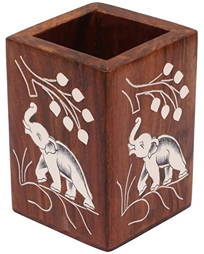 Sale on Pen Stand - Cyber Monday Deals 2016 - SouvNear Handmade Rectangular Pen Stand / Holder - Sheesham Wood with Inlaid Elephant Motifs - Desk Accessories & Organizers / Office Decor