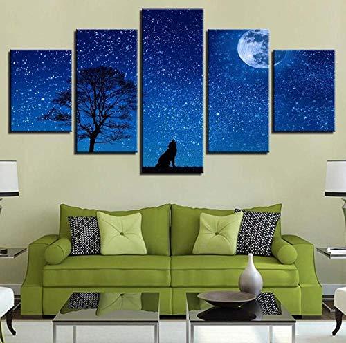Kombination Tier Wolf Landschaft Inkjet Hauptmalerei Kern moderne dekorative Malerei Inkjet Malerei fünf aufeinanderfolgende Gemälde -