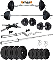 Kore PVC 20-50 Kg Home Gym Set with One 5 Ft Plain + One 3 Ft Curl and One Pair Dumbbell Rods
