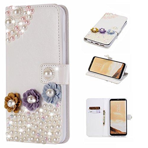 Artfeel Samsung Galaxy S8 Plus Bling Diamant Brieftasche Hülle,Luxus 3D Handgefertigt Glänzend Glitzer Kristall Strass PU Leder Flip Ständer Handytasche mit Kartenfach Magnetverschluss Schutzhülle für Samsung Galaxy S8 Plus,Bunte Blume Perle (Im Ende Inneren Auge)