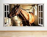 tekkdesigns F664braun Pferdestall Animal Farm Fenster Wand Aufkleber 3D Kunst Aufkleber Vinyl Raum