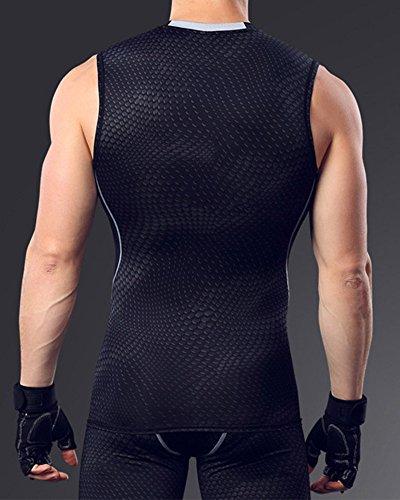 SaiDeng Uomo Tights Correre Maglietta Compressione Quick Dry Traspirante Sports Gilet Nero