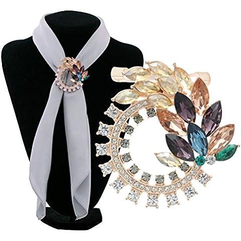 S&E Donna seta elegante Fibbia strass, doppio metalli Usa Sciarpa clip Holder
