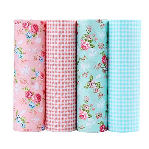 Open Buy Lot de 4 coupons de tissu vintage patchwork pour coussins, textile de cuisine, maison de poupées, caravanes, travaux manuels, robes, layettes 40 x 50 cm