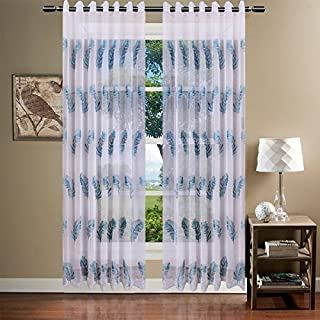 AUSWIND Polyester Embroidered Blue Feather Grommet One Panel Sheer Drapes Window Curtain,White (76''x84'')