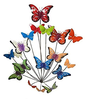 Contemporary Metal Wall Art Sculpture - Flutter Colour Butterflies 77 cm high - inexpensive UK light store.