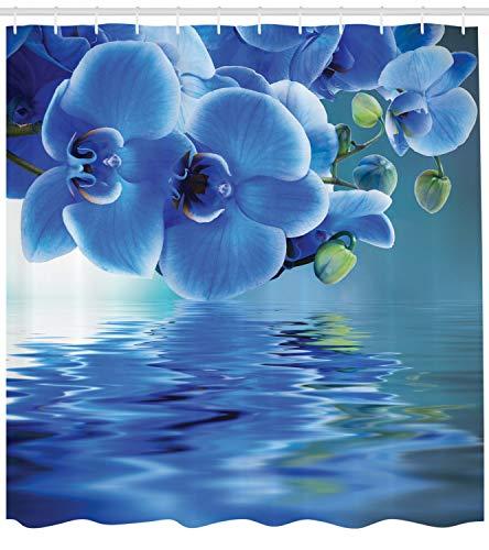 ABAKUHAUS Blume Duschvorhang, Asiatische natürliche Orchideen, mit 12 Ringe Set Wasserdicht Stielvoll Modern Farbfest und Schimmel Resistent, 175x200 cm, Blau (Blau Duschvorhang Set)