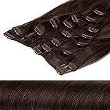 Clip In Extensions Haarverlängerung XXL Haarteile Set glattes Haar in 60 cm Laenge #6 mittelbraun