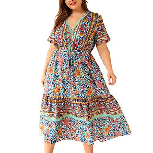Amcool Sommerkleid Damen Vintage Elegante Casual V-Ausschnitt Kurzarm Boho Blumen Casual Täglichen Party Strand Langes Kleid Strandkleid Große Größen -