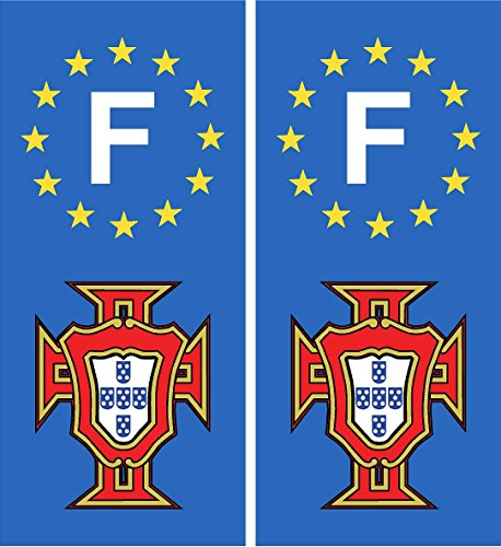 autocollant plaque immatriculation département auto Portugal FPF F blason