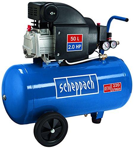 Preisvergleich Produktbild Scheppach 5906103901 Kompressor HC54 | + Tank 50l, Druckminderer, Kupplungen, Manometer / Einzylinder / Fahrvorrichtung / Leistungsstark ( Abgabe 220 l/min / 41 kg / 230 V/ 8 Bar/ 1500 Watt)